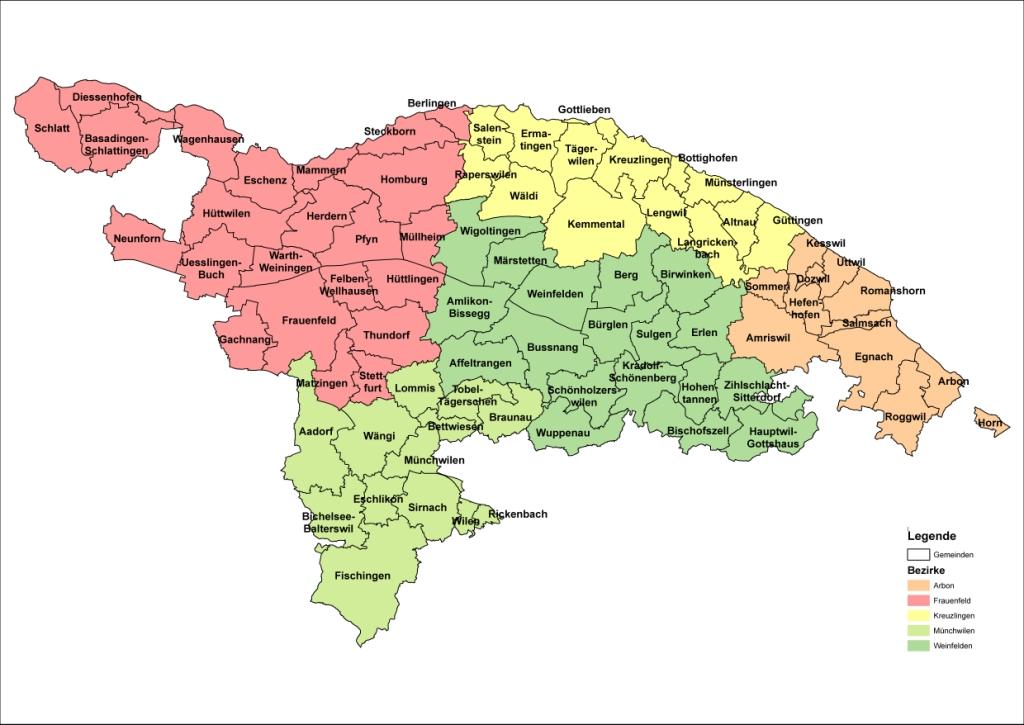 Bezirkseinteilung Kanton Thurgau