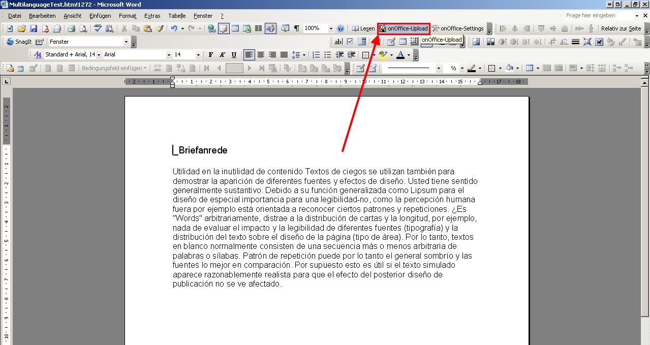 Plantilla de Word en varios idiomas - Ayuda-online onOffice smart