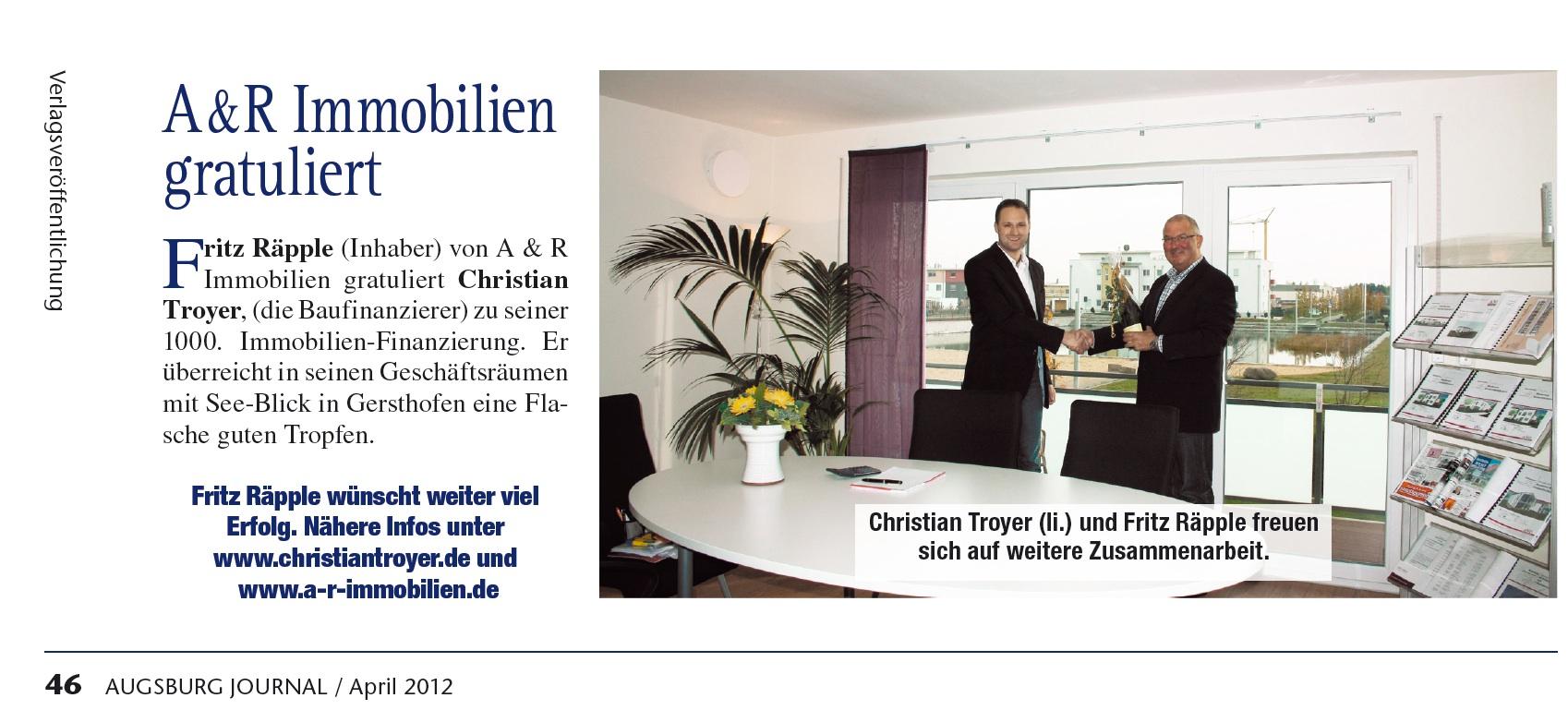 Zeitungsbericht: A & R Immobilien gratuliert