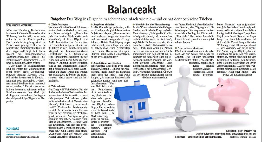 Zeitungsbericht: Balanceakt