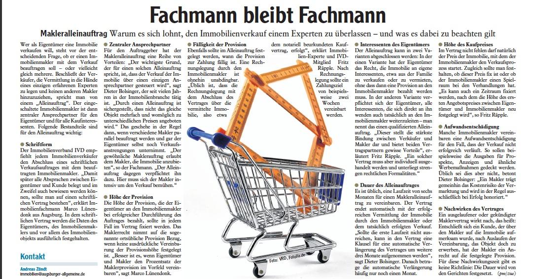 Zeitungsbericht: Fachmann bleibt Fachmann