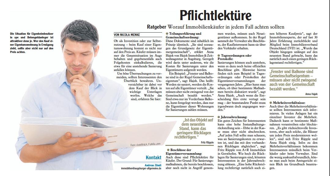 Zeitungsbericht: Pflichtlektüre