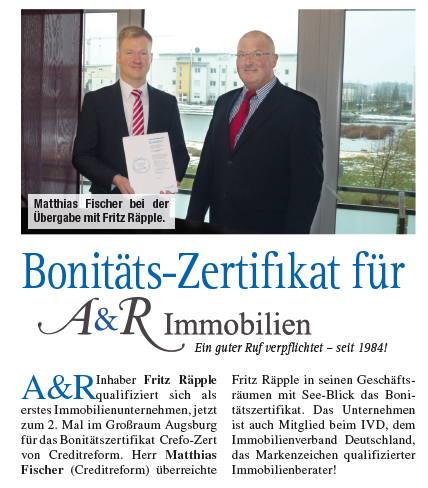 Zeitungsbericht: Bonitäts-Zertifikat