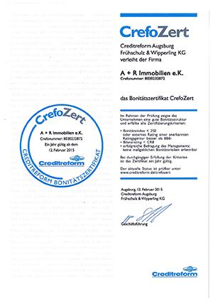 Urkunde: CrefoZert 2015