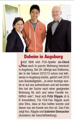Zeitungsbericht: Daheim in Augsburg