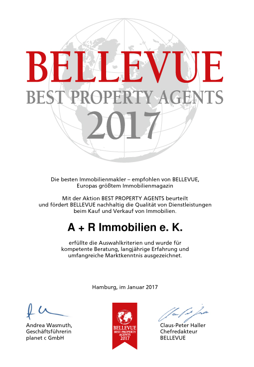 Urkunde: Bellevue Best Property Agents 2017