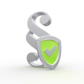 Grüner Haken und Paragraphenzeichen