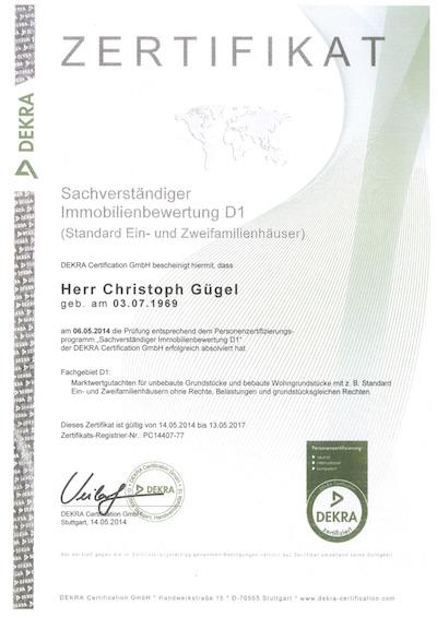 Zertifikat DEKRA Sachverständiger Immobilienbewertung D1