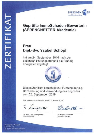 Zertifikat geprüfte ImmoSchaden-Bewerterin