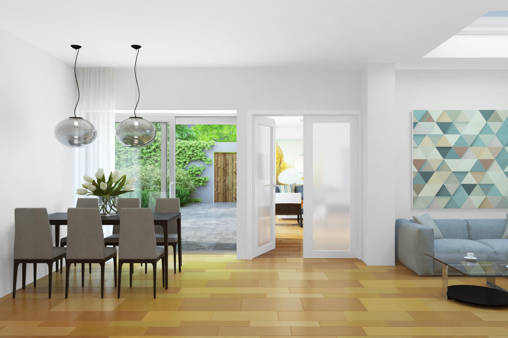 Modern eingerichtetes Esszimmer mit Balkonzugang