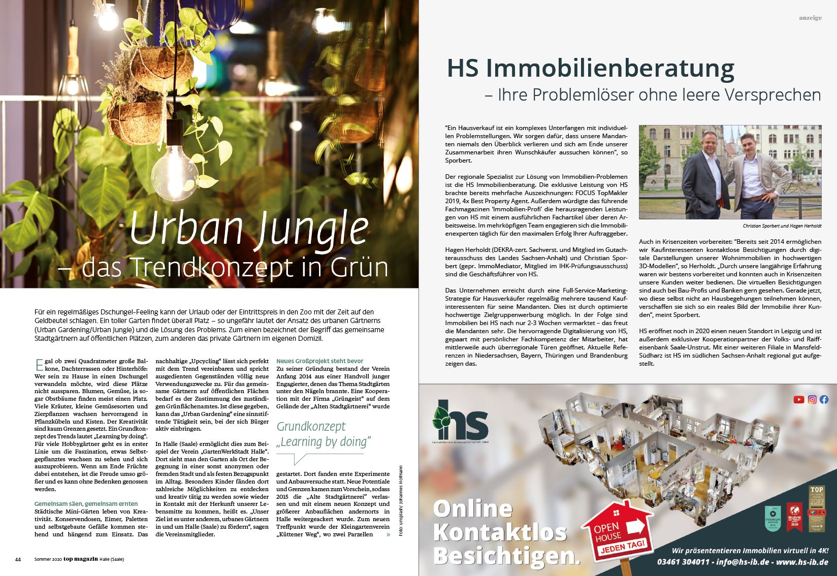 HS Immobilienberatung im TOP Magazin Halle