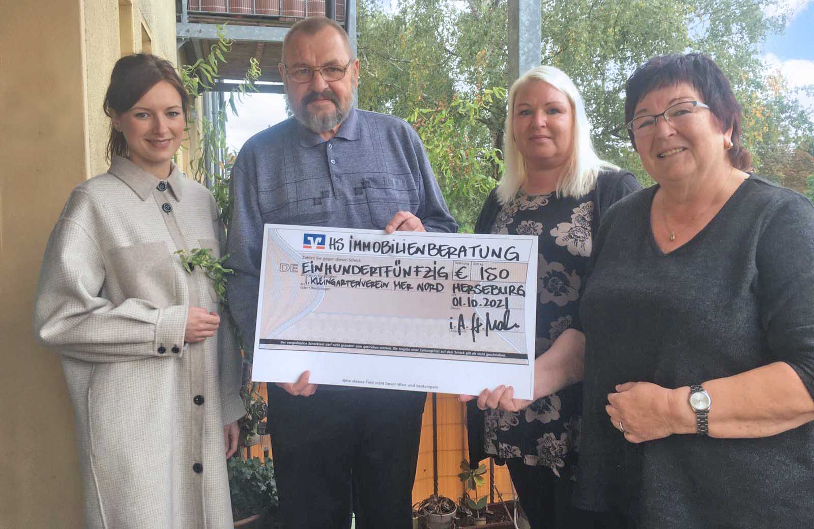 Immobilienmakler spenden 150 Euro an den 1. Kleingartenverein Merseburg Nord e.V.