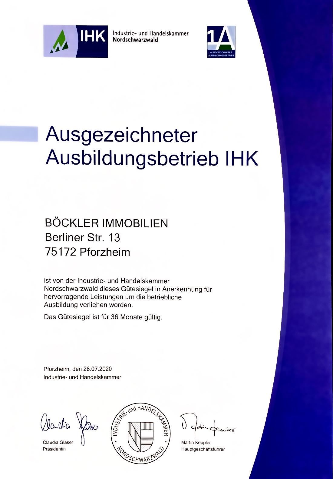 Durch die iHK zertifizierte Ausbildung