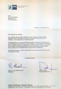 Auszeichnung der Industrie- und Handelskammer Nordschwarzwald zu 25-jährigen Jubiläum vom BÖCKLER IMMOBILIEN Pforzheim
