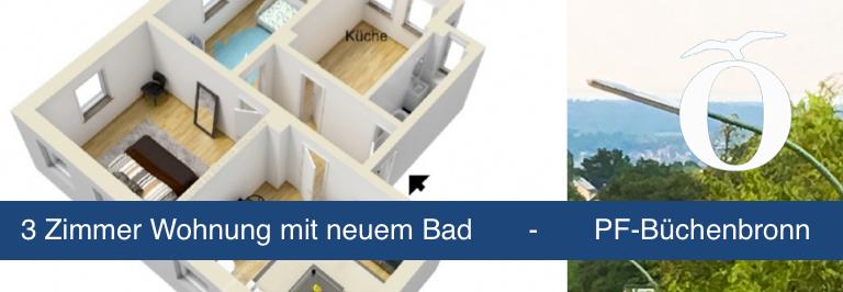 3 Zimmer Wohnung Pforzheim Büchenbronn mit neuem Bad