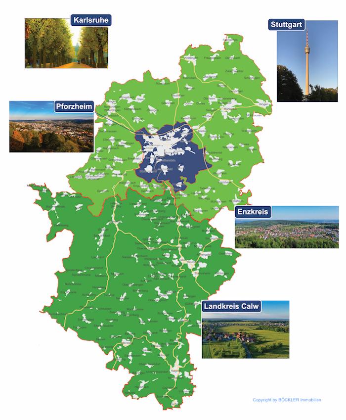 Böckler Immobilien Pforzheim Enzkreis Landkreis Calw Geschäftsgebiet