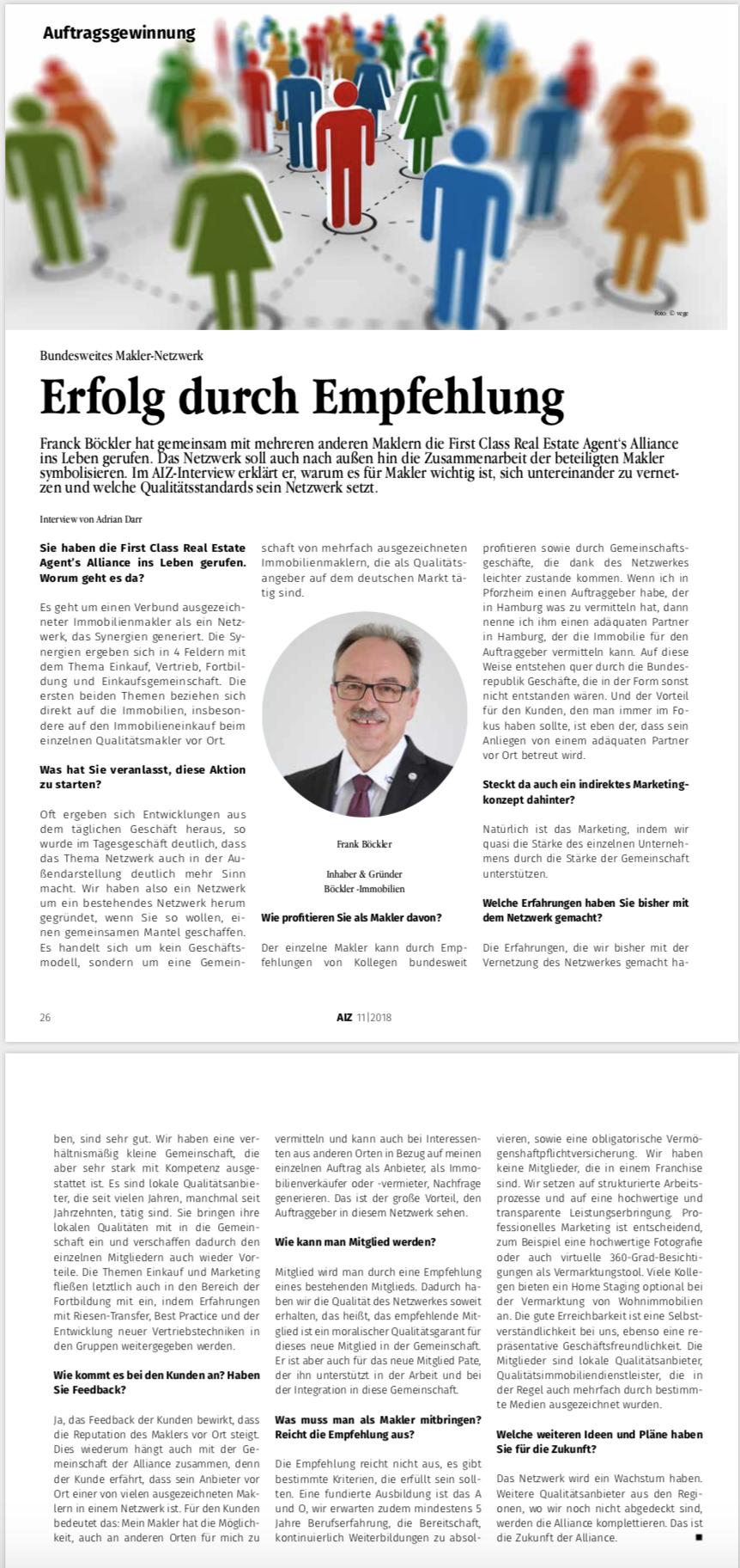 Frank Böckler Makler Netzwerk als Erfolgsfaktor Immobilienmakler