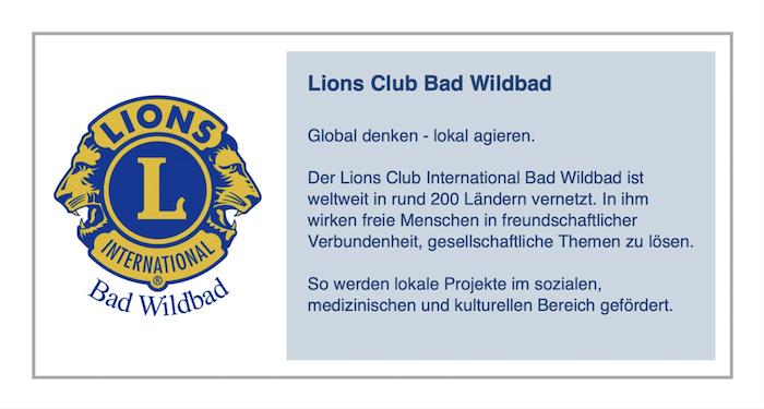 Wir unterstützen das Engagement des Lions Club Bad Wildbad