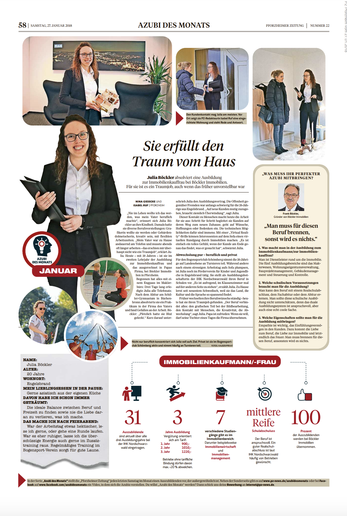 Julia Böckler von Böckler Immobilien in Pforzheim ist Azubi des Monats Januar Pforzheimer-Zeitung