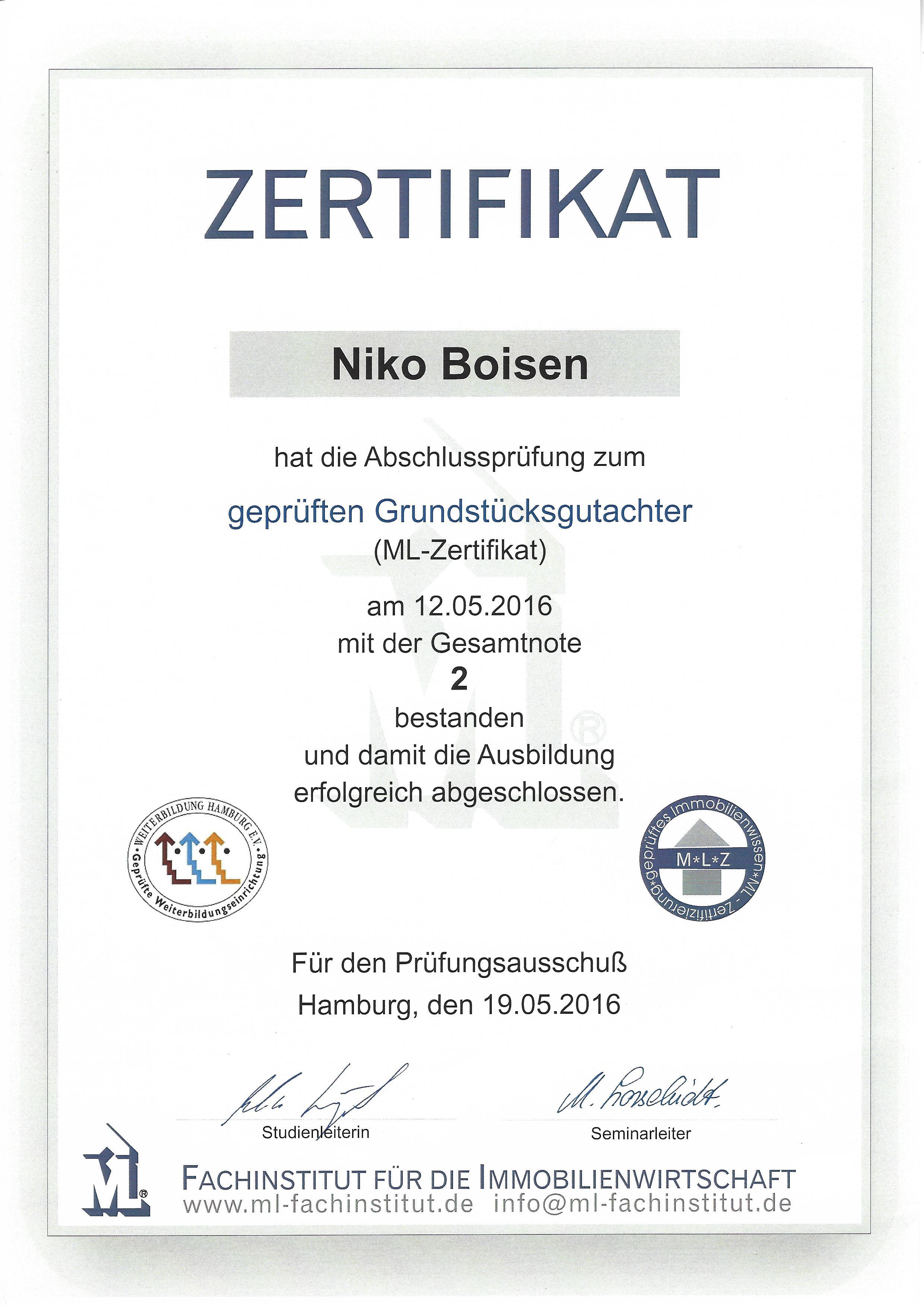 Zertifikat Gutachter