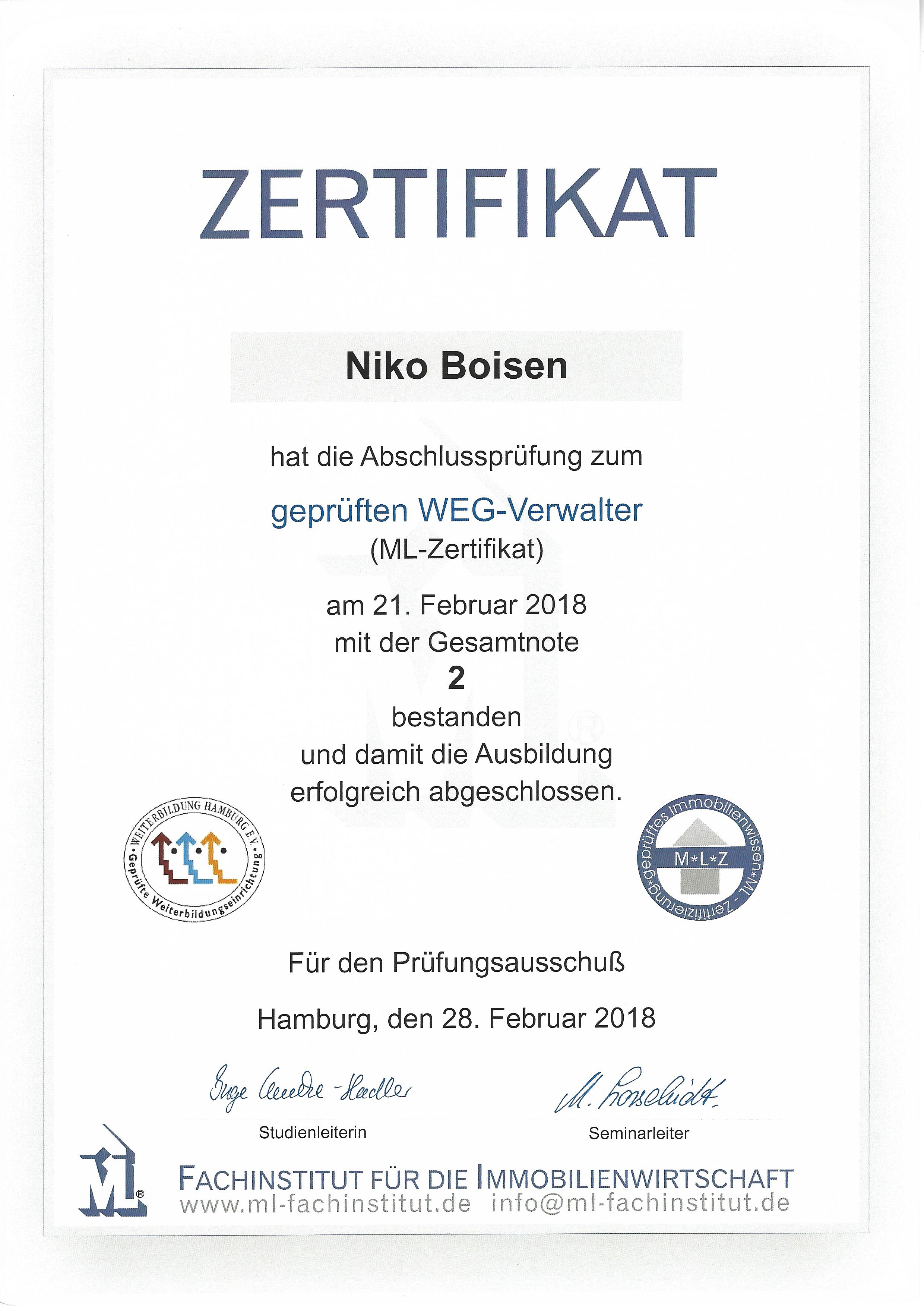 Zertifikat WEG Verwalter