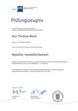 IHK-Prüfungszeugnis Christian Borch