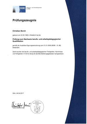 IHK-Ausbilderschein Christian Borch