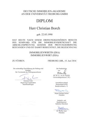 Zertifikat Diplom-Immobilienwirt Christian Borch