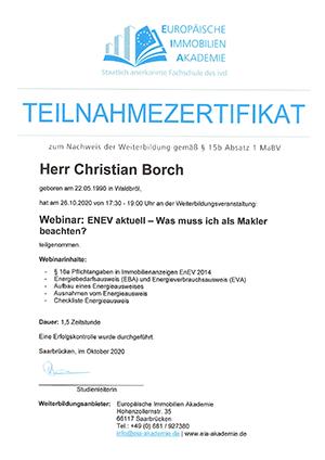 Teilnahmezertifikat ENEV