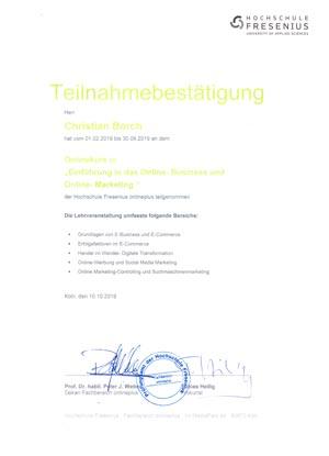 Teilnahmebescheinigung Onlinebusiness-marketing