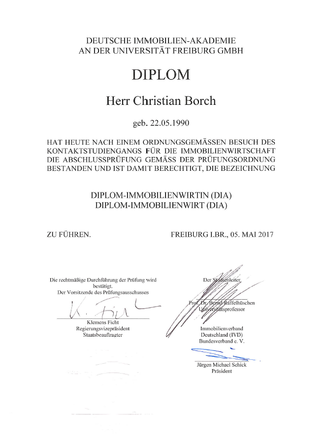 Zertifikat Diplom-Immobilienwirt