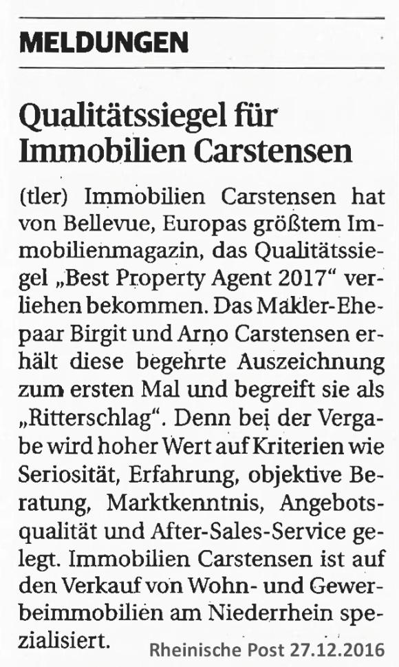 Qualitätssiegel für Immobilien-Carstensen