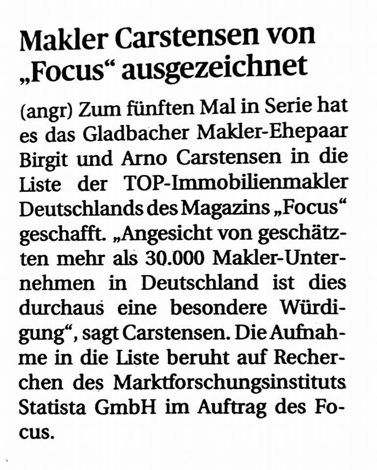 Auszeichnung Focus Immobilien Carstensen