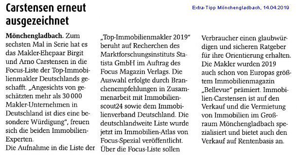 Extra-Tipp Focus 2019 Immobilienmakler Carstensen