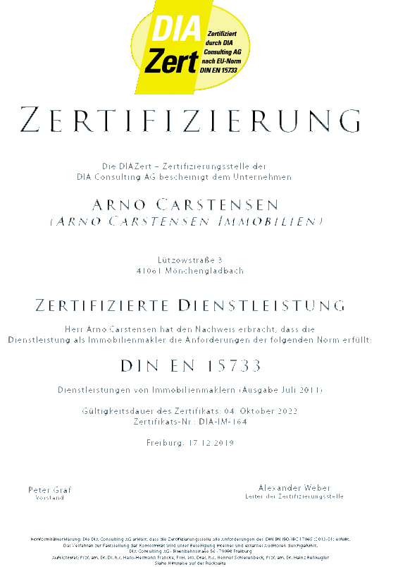 Zertifikat Immobilienmakler Carstensen