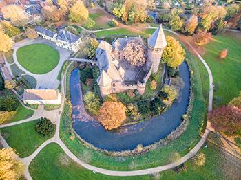 Luftaufnahme von Burg Linn