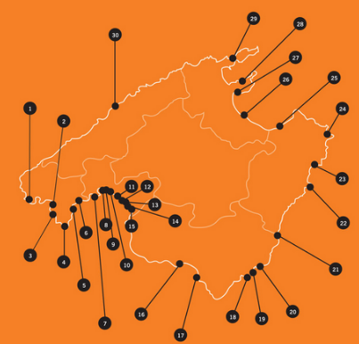 Karte von Mallorcas Häfen