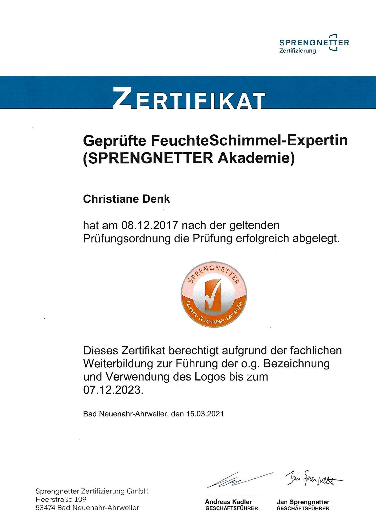 Zertifikat Feuchte- und Schimmel-Expertin Christiane Denk