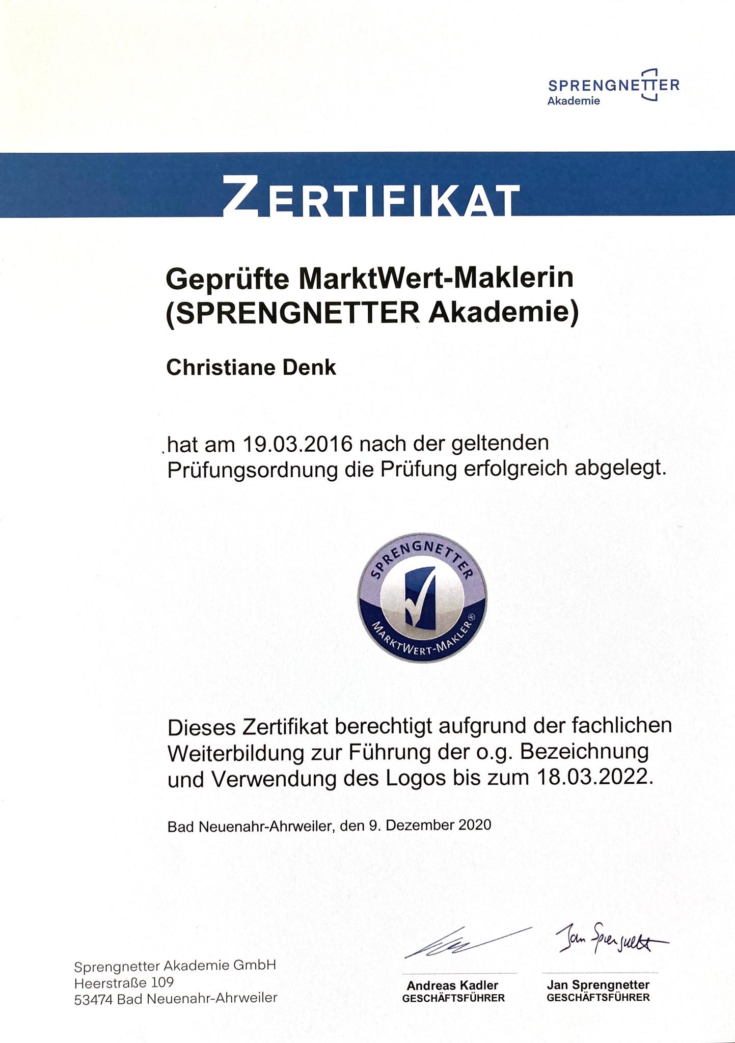 Zertifikat MarktWert-Maklerin Christiane Denk