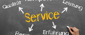 Tafel mit der Überschrift - Service