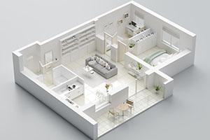Wohnung in 3d Visualisierung