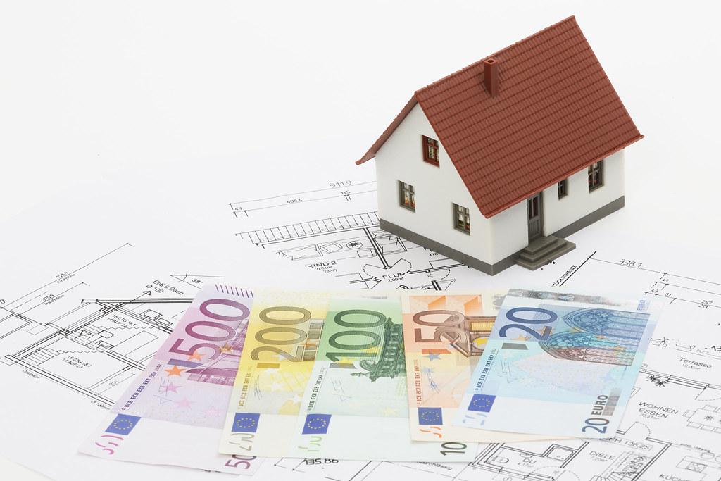 Miniaturhaus, Grundrisse und Geldscheine
