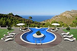 Villa mit Pool und Blick auf das Meer