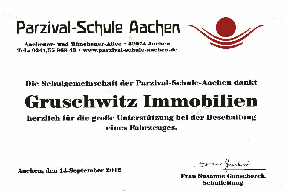 Urkunde Parzival Schule Aachen