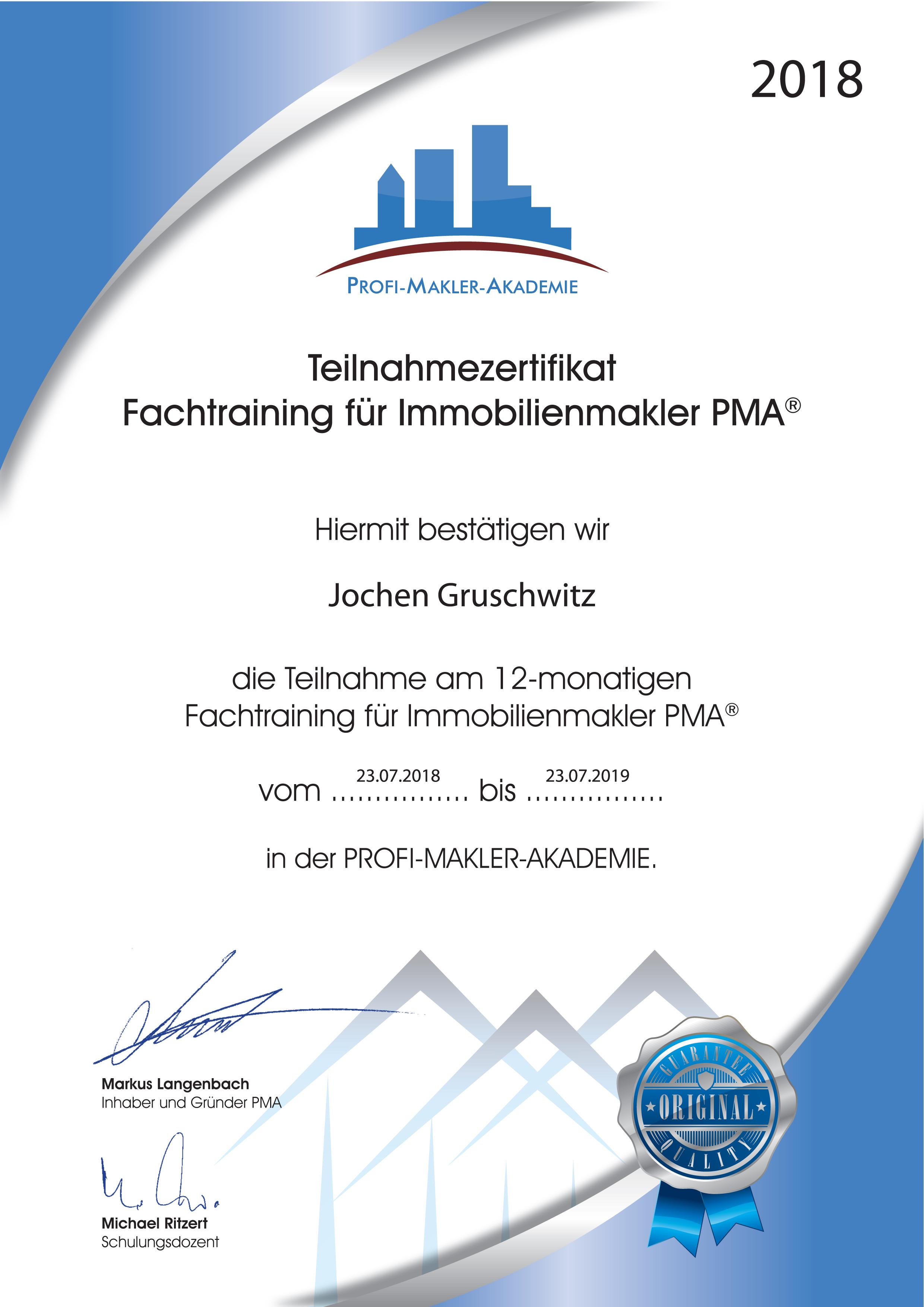 Urkunde PMA