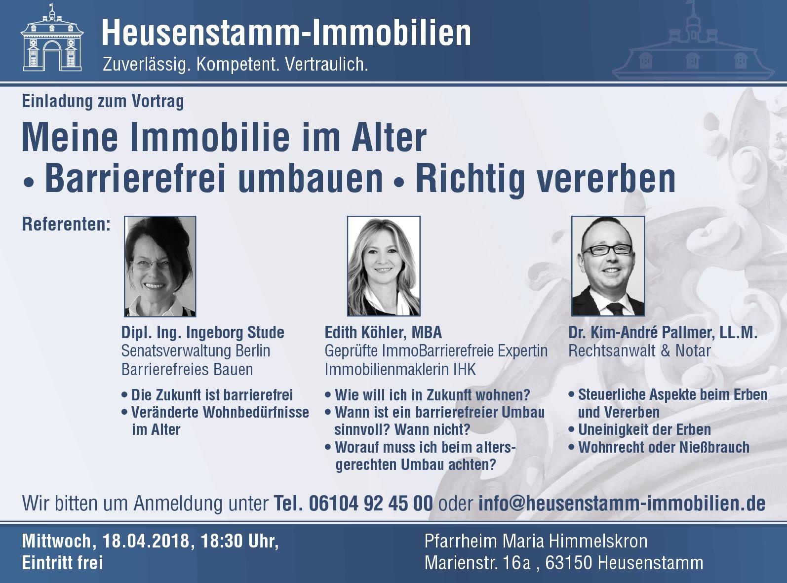 Einladung zum Vortrag Heusenstamm Immobilien