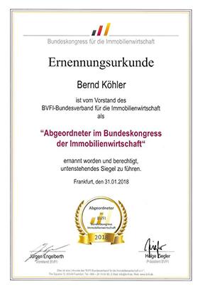 Ernennungsurkunde Bernd Köhler