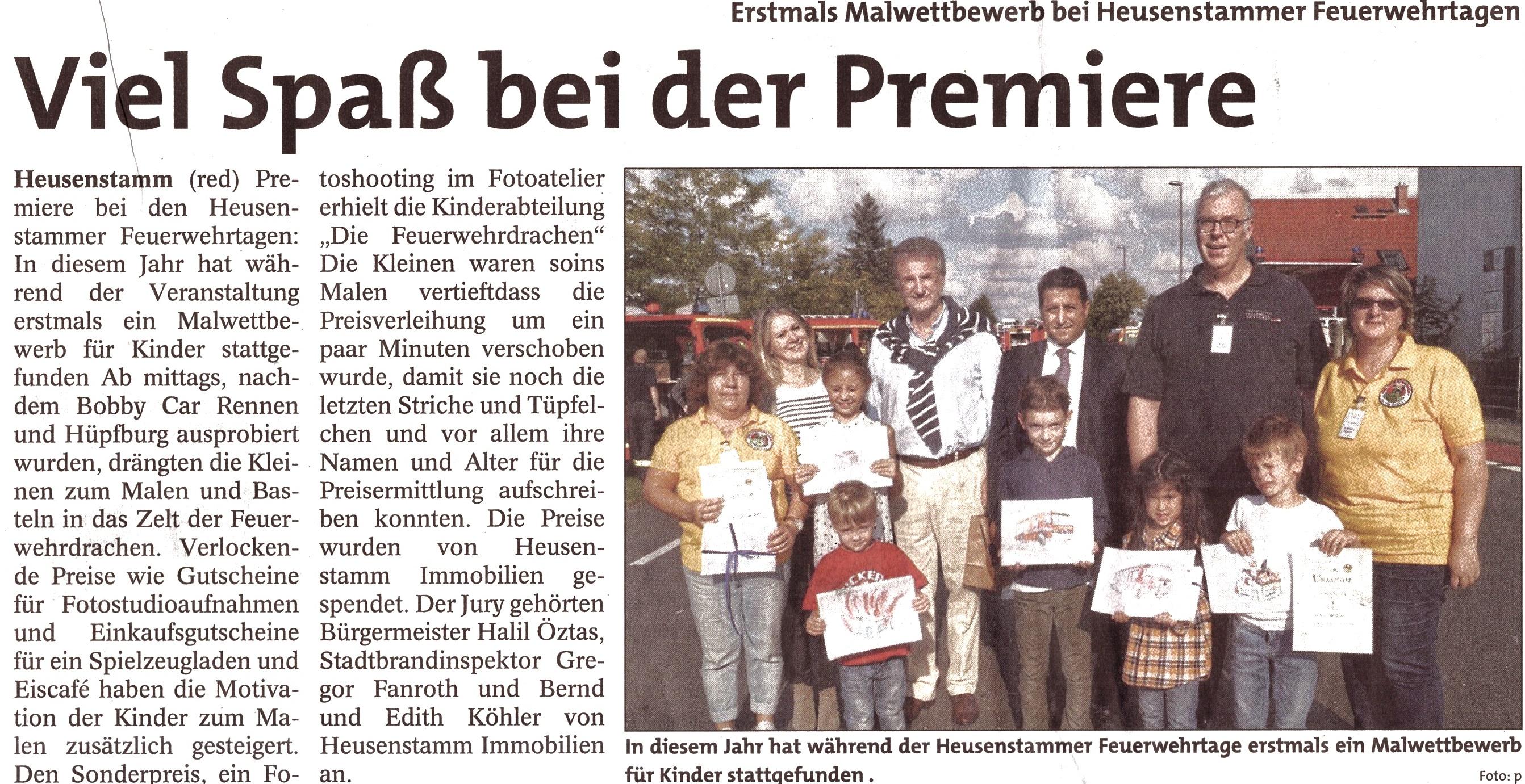 Zeitungsartikel Malwettbewerb Heusenstammer Feuerwehrtage