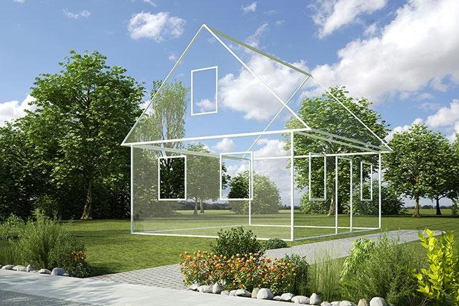 3D-Haus auf Wiese