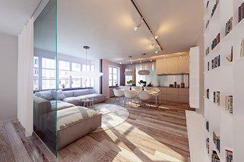 Moderner Wohnbereich mit Glaswand